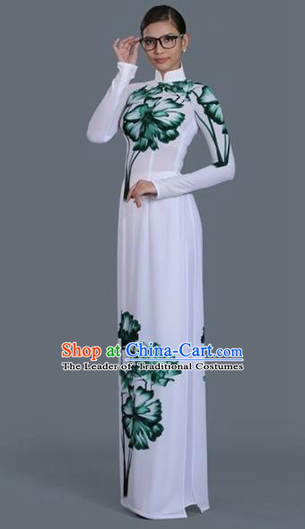 Traditional Top Grade Asian Vietnamese Costumes Classical Princess Printing Full Dress, Vietnam National Ao Dai Dress White Cheongsam for Women