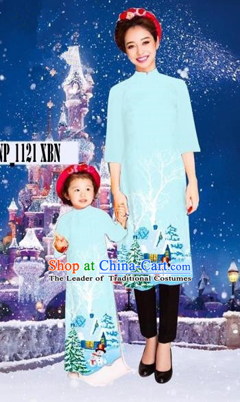Traditional Top Grade Asian Vietnamese Costumes Classical Printing Christmas Blue Full Dress, Vietnam National Ao Dai Dress Mother-daughter Cheongsam for Women for Kids