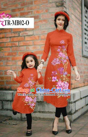 Traditional Top Grade Asian Vietnamese Costumes Classical Printing Cheongsam, Vietnam National Ao Dai Dress Parent-child Orange Full Dress for Women for Kids
