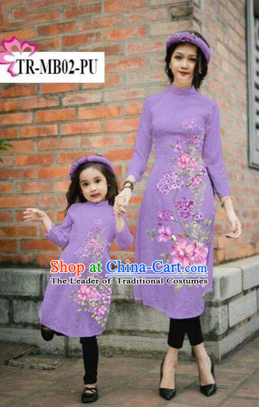 Traditional Top Grade Asian Vietnamese Costumes Classical Printing Cheongsam, Vietnam National Ao Dai Dress Parent-child Purple Full Dress for Women for Kids
