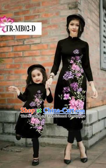 Traditional Top Grade Asian Vietnamese Costumes Classical Printing Cheongsam, Vietnam National Ao Dai Dress Parent-child Black Full Dress for Women for Kids