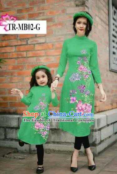 Traditional Top Grade Asian Vietnamese Costumes Classical Printing Cheongsam, Vietnam National Ao Dai Dress Parent-child Green Full Dress for Women for Kids