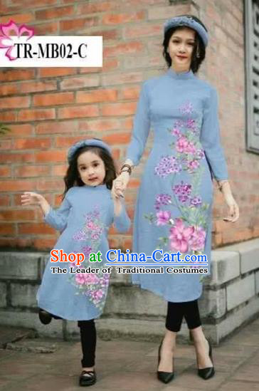 Traditional Top Grade Asian Vietnamese Costumes Classical Printing Cheongsam, Vietnam National Ao Dai Dress Parent-child Dusty Blue Full Dress for Women for Kids