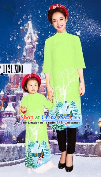 Traditional Top Grade Asian Vietnamese Costumes Classical Printing Christmas Green Full Dress, Vietnam National Ao Dai Dress Mother-daughter Cheongsam for Women for Kids