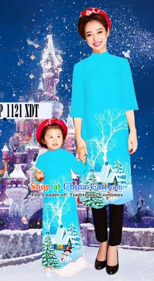 Traditional Top Grade Asian Vietnamese Costumes Classical Printing Christmas Sky Blue Full Dress, Vietnam National Ao Dai Dress Mother-daughter Cheongsam for Women for Kids