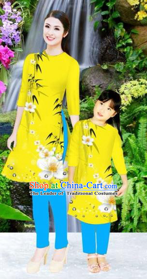 Traditional Top Grade Asian Vietnamese Costumes Classical Printing Flowers Yellow Full Dress, Vietnam National Ao Dai Dress Mother-daughter Cheongsam for Women for Kids