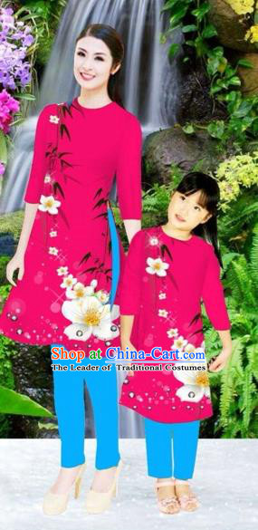 Traditional Top Grade Asian Vietnamese Costumes Classical Printing Flowers Rosy Full Dress, Vietnam National Ao Dai Dress Mother-daughter Cheongsam for Women for Kids