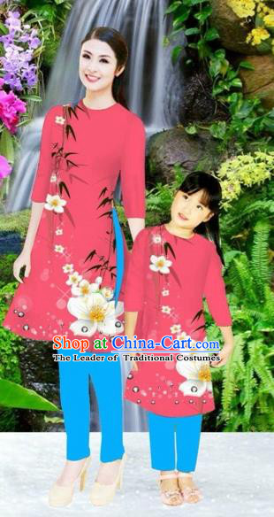 Traditional Top Grade Asian Vietnamese Costumes Classical Printing Flowers Pink Full Dress, Vietnam National Ao Dai Dress Mother-daughter Cheongsam for Women for Kids
