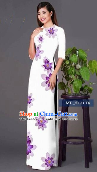Traditional Top Grade Asian Vietnamese Costumes Classical Princess Full Dress, Vietnam National Ao Dai Dress White Cheongsam for Women
