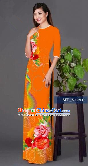 Traditional Top Grade Asian Vietnamese Costumes Classical Princess Printing Cheongsam, Vietnam National Ao Dai Dress Orange Full Dress for Women
