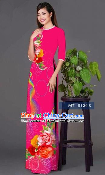 Traditional Top Grade Asian Vietnamese Costumes Classical Princess Printing Cheongsam, Vietnam National Ao Dai Dress Rosy Full Dress for Women