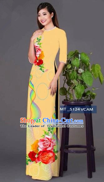 Traditional Top Grade Asian Vietnamese Costumes Classical Princess Printing Cheongsam, Vietnam National Ao Dai Dress Khaki Full Dress for Women