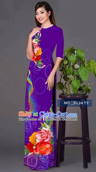 Traditional Top Grade Asian Vietnamese Costumes Classical Princess Printing Cheongsam, Vietnam National Ao Dai Dress Purple Full Dress for Women