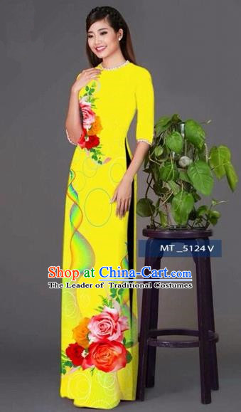 Traditional Top Grade Asian Vietnamese Costumes Classical Princess Printing Cheongsam, Vietnam National Ao Dai Dress Yellow Full Dress for Women