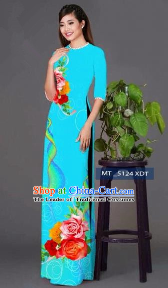 Traditional Top Grade Asian Vietnamese Costumes Classical Princess Printing Cheongsam, Vietnam National Ao Dai Dress Blue Full Dress for Women