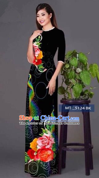 Traditional Top Grade Asian Vietnamese Costumes Classical Princess Printing Cheongsam, Vietnam National Ao Dai Dress Black Full Dress for Women