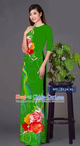 Traditional Top Grade Asian Vietnamese Costumes Classical Princess Printing Cheongsam, Vietnam National Ao Dai Dress Green Full Dress for Women