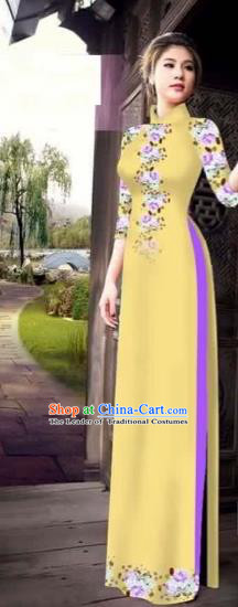 Traditional Top Grade Asian Vietnamese Costumes Classical Princess Printing Flowers Cheongsam, Vietnam National Ao Dai Dress Yellow Full Dress for Women