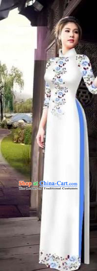 Traditional Top Grade Asian Vietnamese Costumes Classical Princess Printing Flowers Cheongsam, Vietnam National Ao Dai Dress White Full Dress for Women
