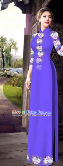 Traditional Top Grade Asian Vietnamese Costumes Classical Princess Printing Flowers Cheongsam, Vietnam National Ao Dai Dress Purple Full Dress for Women