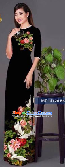 Traditional Top Grade Asian Vietnamese Costumes Classical Princess Printing Peony Flowers Cheongsam, Vietnam National Ao Dai Dress Black Full Dress for Women
