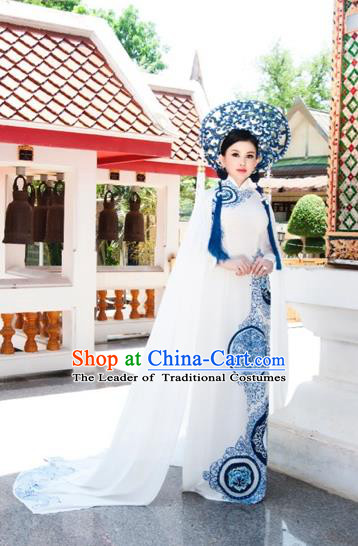 Traditional Top Grade Asian Vietnamese Costumes Classical Blue and White Porcelain Full Dress, Vietnam National Ao Dai Dress Wedding Bride Cheongsam for Women