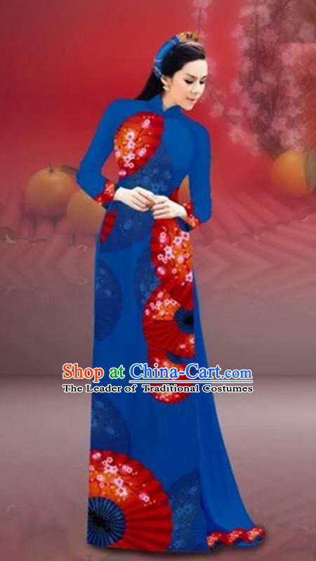 Traditional Top Grade Asian Vietnamese Costumes Classical New Year Printing Cheongsam, Vietnam National Navy Ao Dai Dress for Women