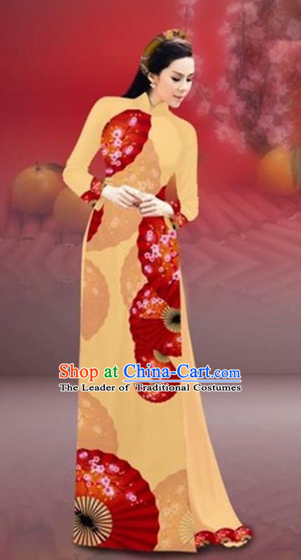 Traditional Top Grade Asian Vietnamese Costumes Classical New Year Printing Cheongsam, Vietnam National Yellow Ao Dai Dress for Women