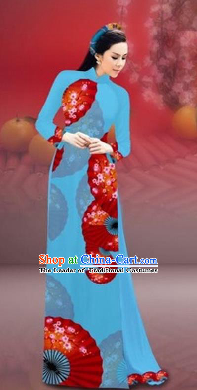 Traditional Top Grade Asian Vietnamese Costumes Classical New Year Printing Cheongsam, Vietnam National Blue Ao Dai Dress for Women