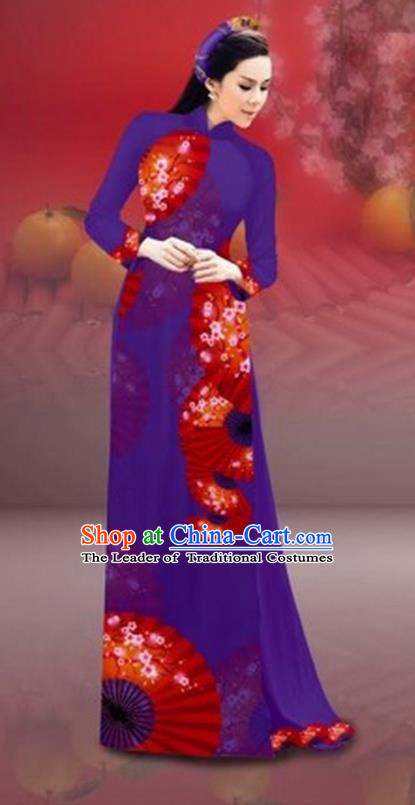 Traditional Top Grade Asian Vietnamese Costumes Classical New Year Printing Cheongsam, Vietnam National Purple Ao Dai Dress for Women