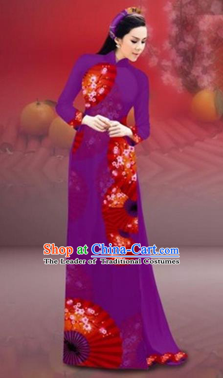 Traditional Top Grade Asian Vietnamese Costumes Classical New Year Printing Cheongsam, Vietnam National Amaranth Ao Dai Dress for Women