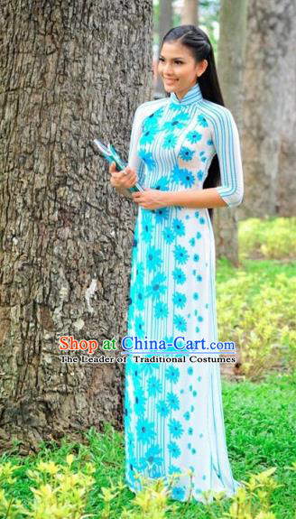 Traditional Top Grade Asian Vietnamese Costumes Classical Printing Cheongsam, Vietnam National Wedding Bride Blue Ao Dai Dress for Women
