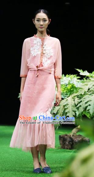 Traditional Top Grade Asian Vietnamese Costumes Classical Embroidery Cheongsam, Vietnam National Wedding Bride Pink Ao Dai Dress for Women