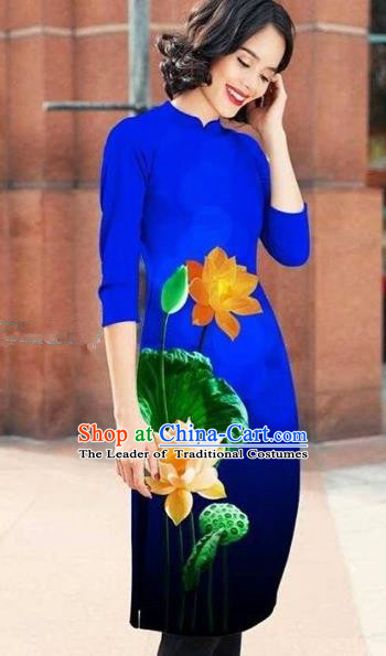 Traditional Top Grade Asian Vietnamese Costumes Classical Printing Lotus Cheongsam, Vietnam National Royalblue Short Ao Dai Dress for Women