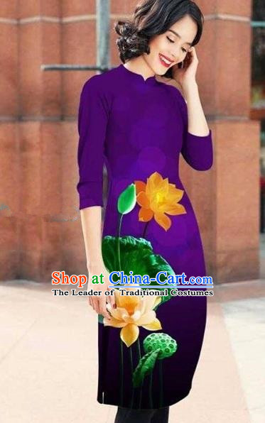 Traditional Top Grade Asian Vietnamese Costumes Classical Printing Lotus Cheongsam, Vietnam National Purple Short Ao Dai Dress for Women