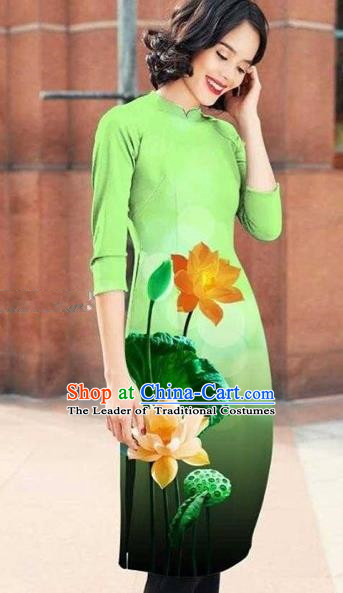 Traditional Top Grade Asian Vietnamese Costumes Classical Printing Lotus Cheongsam, Vietnam National Light Green Short Ao Dai Dress for Women
