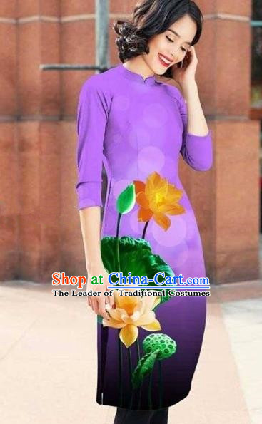 Traditional Top Grade Asian Vietnamese Costumes Classical Printing Lotus Cheongsam, Vietnam National Light Violet Short Ao Dai Dress for Women