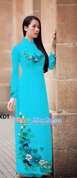 Traditional Top Grade Asian Vietnamese Costumes Classical Princess Printing Flowers Cheongsam, Vietnam National Ao Dai Dress Lake Blue Full Dress for Women