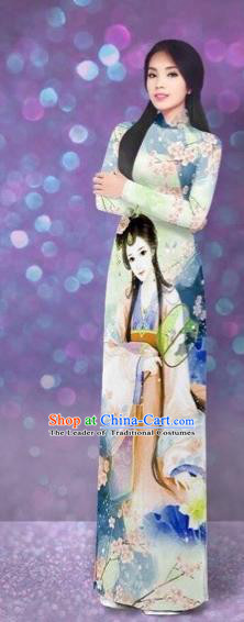 Traditional Top Grade Asian Vietnamese Costumes Classical Printing Beauty Cheongsam, Vietnam National Green Ao Dai Dress for Women