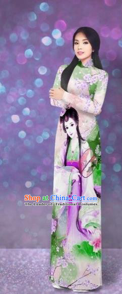 Traditional Top Grade Asian Vietnamese Costumes Classical Printing Beauty Cheongsam, Vietnam National Ao Dai Dress for Women