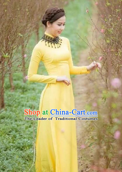 Traditional Top Grade Asian Vietnamese Costumes Classical Wedding Bride Cheongsam, Vietnam National Yellow Ao Dai Dress for Women