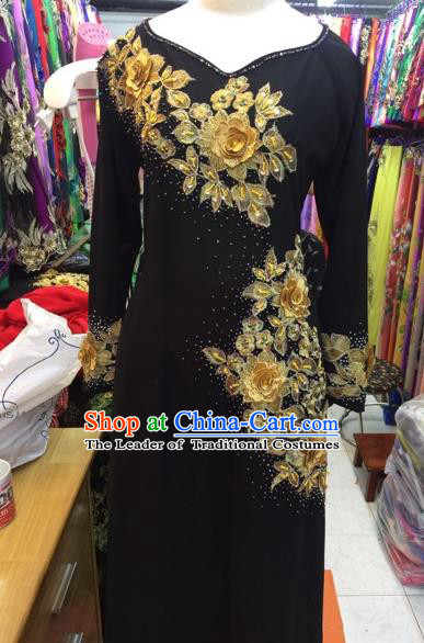 Traditional Top Grade Asian Vietnamese Costumes Classical Wedding Bride Beading Cheongsam, Vietnam National Black Ao Dai Dress for Women
