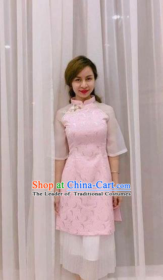 Traditional Top Grade Asian Vietnamese Costumes Classical Wedding Bride Pink Cheongsam, Vietnam National Ao Dai Dress for Women