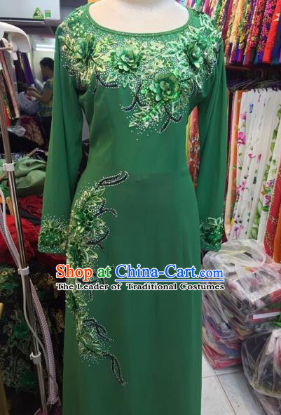 Traditional Top Grade Asian Vietnamese Costumes Classical Catwalks Embroidery Cheongsam, Vietnam National Green Ao Dai Dress for Women