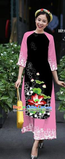 Traditional Top Grade Asian Vietnamese Costumes Classical Catwalks Printing Lotus Cheongsam, Vietnam National Black Ao Dai Dress for Women