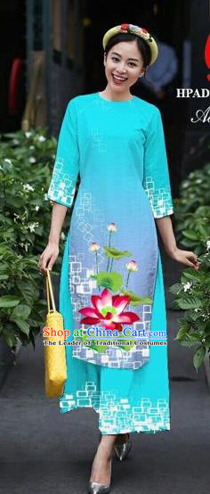 Traditional Top Grade Asian Vietnamese Costumes Classical Catwalks Printing Lotus Cheongsam, Vietnam National Lake Blue Ao Dai Dress for Women