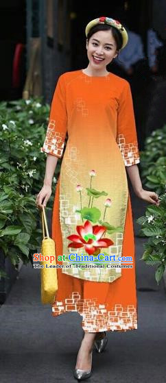 Traditional Top Grade Asian Vietnamese Costumes Classical Catwalks Printing Lotus Cheongsam, Vietnam National Orange Ao Dai Dress for Women