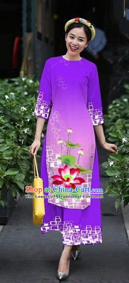 Traditional Top Grade Asian Vietnamese Costumes Classical Catwalks Printing Lotus Cheongsam, Vietnam National Purple Ao Dai Dress for Women