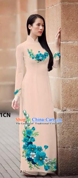 Traditional Top Grade Asian Vietnamese Costumes Classical Princess Printing Flowers Cheongsam, Vietnam National Ao Dai Dress Fleshcolor Full Dress for Women