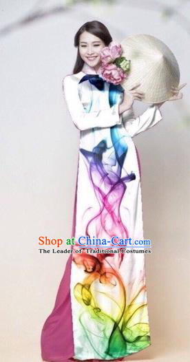 Traditional Top Grade Asian Vietnamese Costumes Classical Catwalks Printing Cheongsam, Vietnam National Princess White Ao Dai Dress for Women